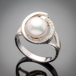 Серебряное кольцо Синди - золото, жемчуг, фианит