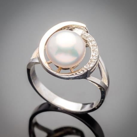 Серебряное кольцо Синди (белый)