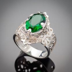 Женское серебряное кольцо Рэтро с фианитом