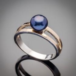 Серебряное кольцо Парижанка с жемчугом