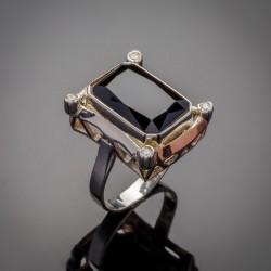 Женское серебряное кольцо Глория - вставка улексит или оникс