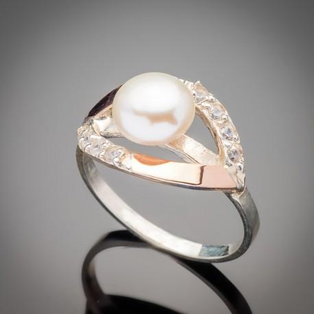 Женское кольцо Ракушка с жемчугом (белый)