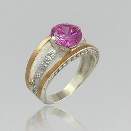 Серебряное кольцо ПАРИЖ (розовый)