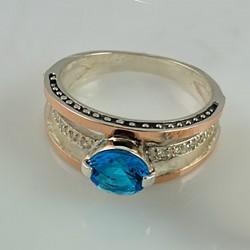 Серебряное кольцо ПАРИЖ (голубой)