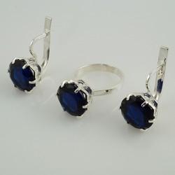 Монтерей - гарнитур из серебра (синий)