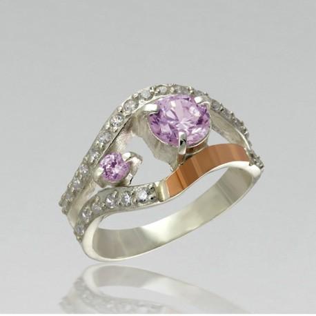 Элегантное серебряное кольцо Люсия (розовый)