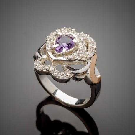 Женское серебряное кольцо Гера (фиолетовый)