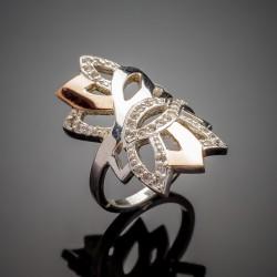 Женское серебряное кольцо Кассандра со вставками из золота и фианита