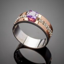 Серебряный перстень Иллюзия (фиолетовый)