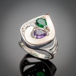 Серебряное кольцо Скарлет со вставками из золота и фианитов