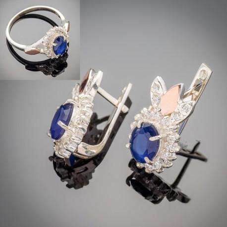 Серебряный гарнитур Асти (кольцо и серьги)