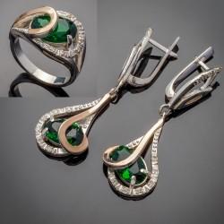 Комплект серебряных украшений Орхидея (зеленый)