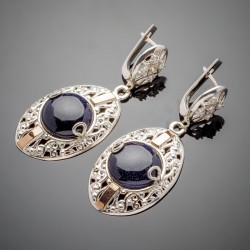 Удлиненные серебряные серьги Ярына с подвеской