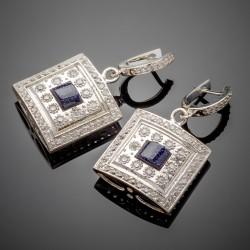 Серебряные серьги Мишель, авантюрин и фианит