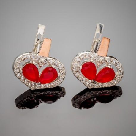 Серебряные серьги Любовь (красный)