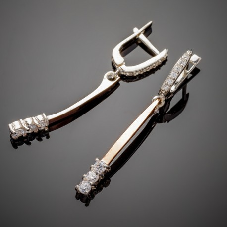 Длинные серебряные серьги Лучик