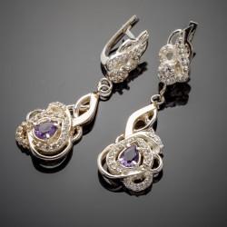 Серебряные серьги с подвесом Гера, вставки - фианит