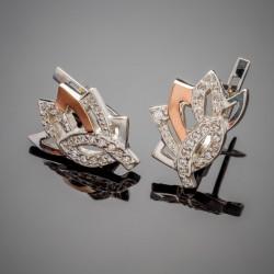 Серебряные серьги Кассандра со вставками из золота и фианита