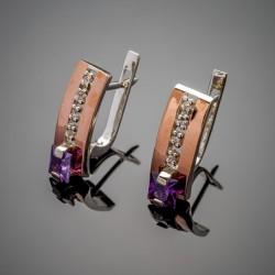 Серебряные серьги Иллюзия (фиолетовый)