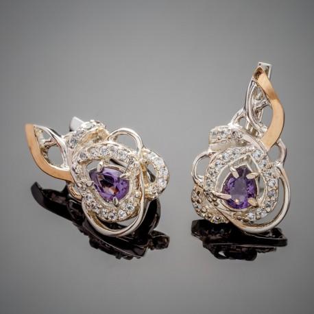 Необычные серебряные серьги Гера