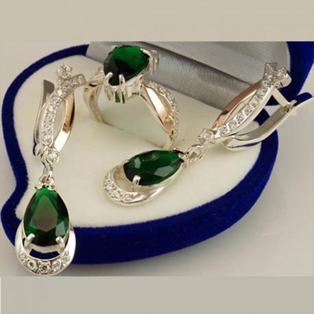Серебряный набор Артемида (зеленый)