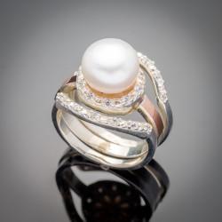 Набор серебряных колец Лисма с жемчугом