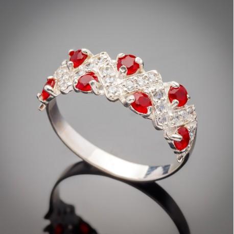 Серебряное кольцо Венок (красный)