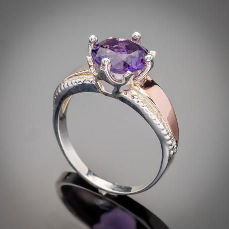 Женское серебряное кольцо Лада (фиолетовый)