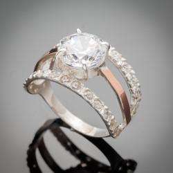 Шикарное серебряное кольцо Василиса со вставками из золота и циркония