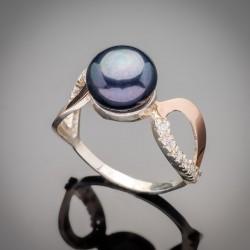 Серебряное кольцо Лотос с черным жемчугом