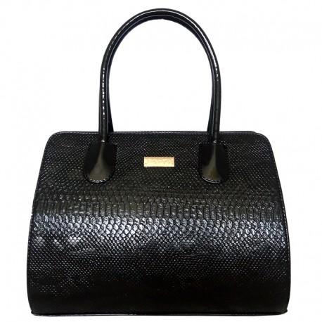 Черная лаковая сумка под рептилию