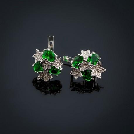 Серебряные серьги Букет (зеленый)