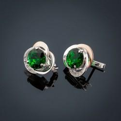 Серебряные серьги Троянда (зеленый)