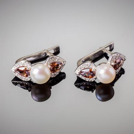 Серебряные серьги Жемчуг (белый)