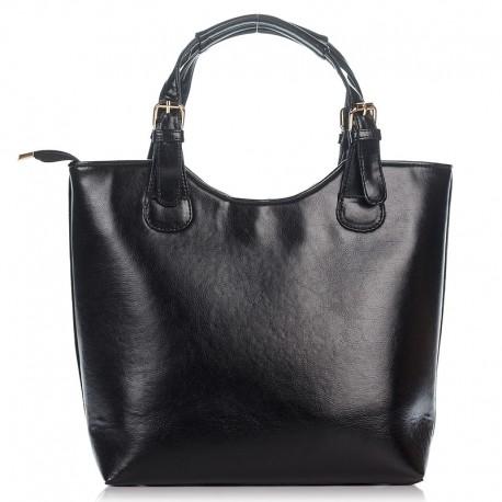 Черная женская сумка-шоппер