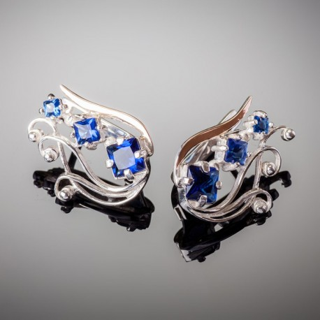 Серебряные серьги Лира (синий)
