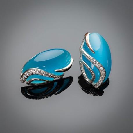 Серебряные серьги Елена (голубой)