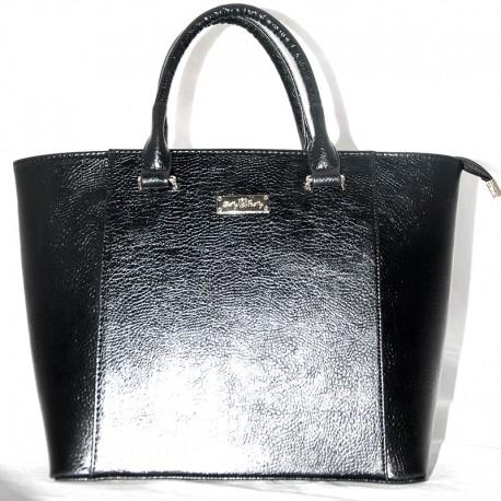 Блестящая сумка-трапеция (черный)