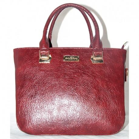Глянцевая женская сумка (бордо)