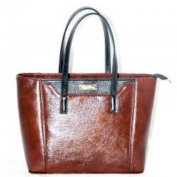 Женская сумка с карманом, глянцевая