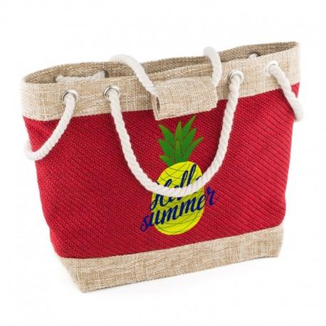 Пляжная сумка из рогожки (красный)