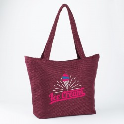 Женская пляжная сумка с вышивкой МОРОЖЕНОЕ