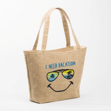 Пляжная сумка с вышивкой (бежевый)