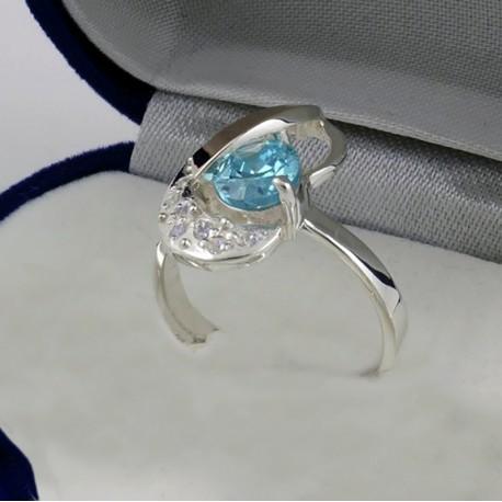 Серебряное кольцо Марго 2 (голубой)