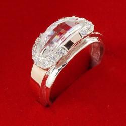 Серебряное кольцо Орфей с золотыми напайками и цирконием