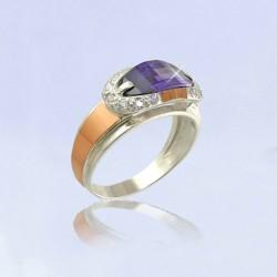 Серебряное кольцо Орфей (аметист)