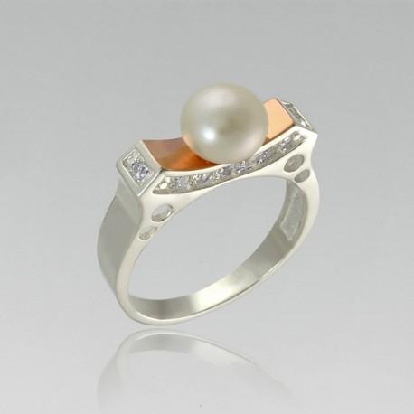 Необычное кольцо Жемчужина (серебро)