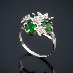 Колечко Букет из серебра (зеленый)