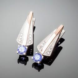 Серебряные серьги Грация (синий)