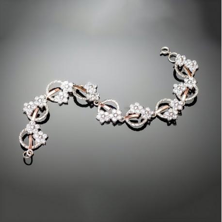 Серебряный браслет Фиалка (белый)